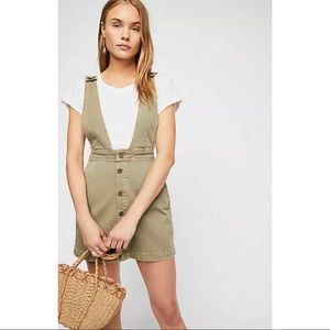 We The Free Mallory Olive Overall Jumper Dress 4